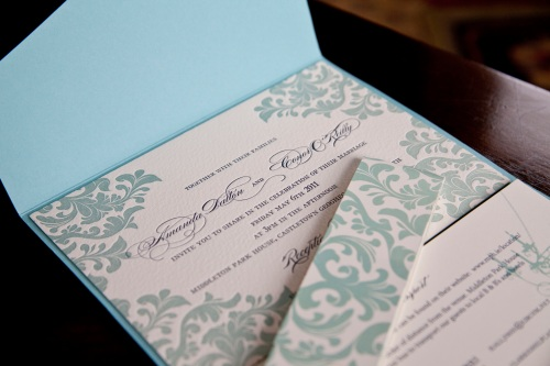 Floral Edge Lettepress Invitation